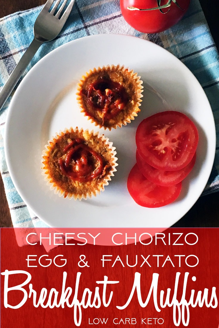Cheesy chorizo, egg and cauliflower faux-tato breakfast muffins topped with Sriracha hot sauce.