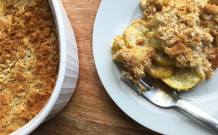 Squash Casserole with cheesy, creamy filling topped with Ritz Crackers.