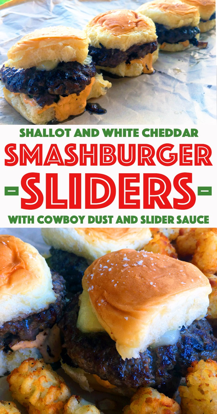 "Cheeseburger sliders with title ""Shallot and White Cheddar Smashburger Sliders with Cowboy Dust and Slider Sauce"""