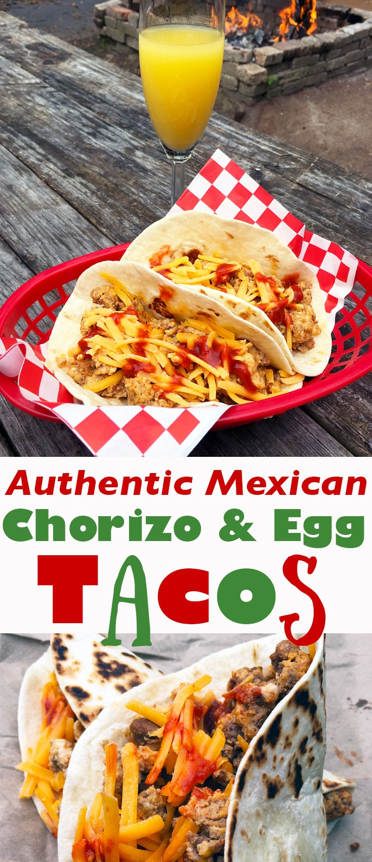Authentic Mexican chorizo and egg breakfast tacos.
