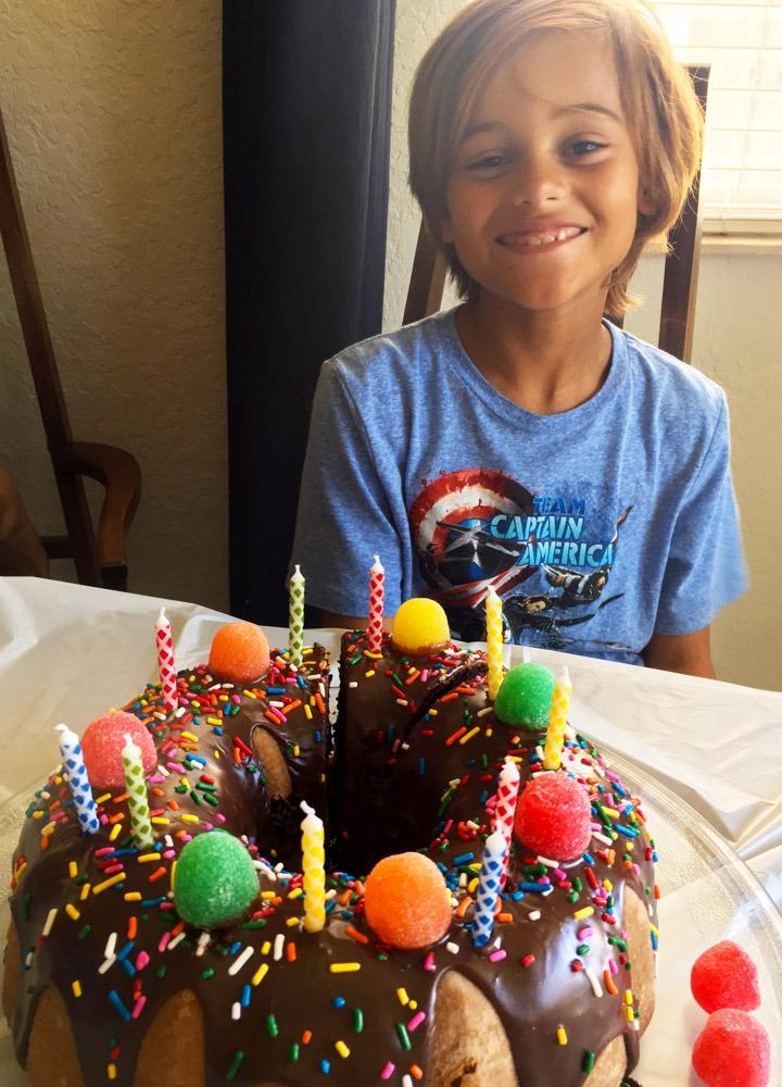 Birthday Boy and his crown cake Birthday Crownie.