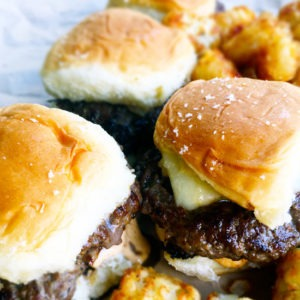 Shallot and White Cheddar Smashburger Sliders