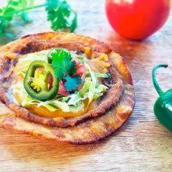Traditional Mexican Tostadas with Refried Beans