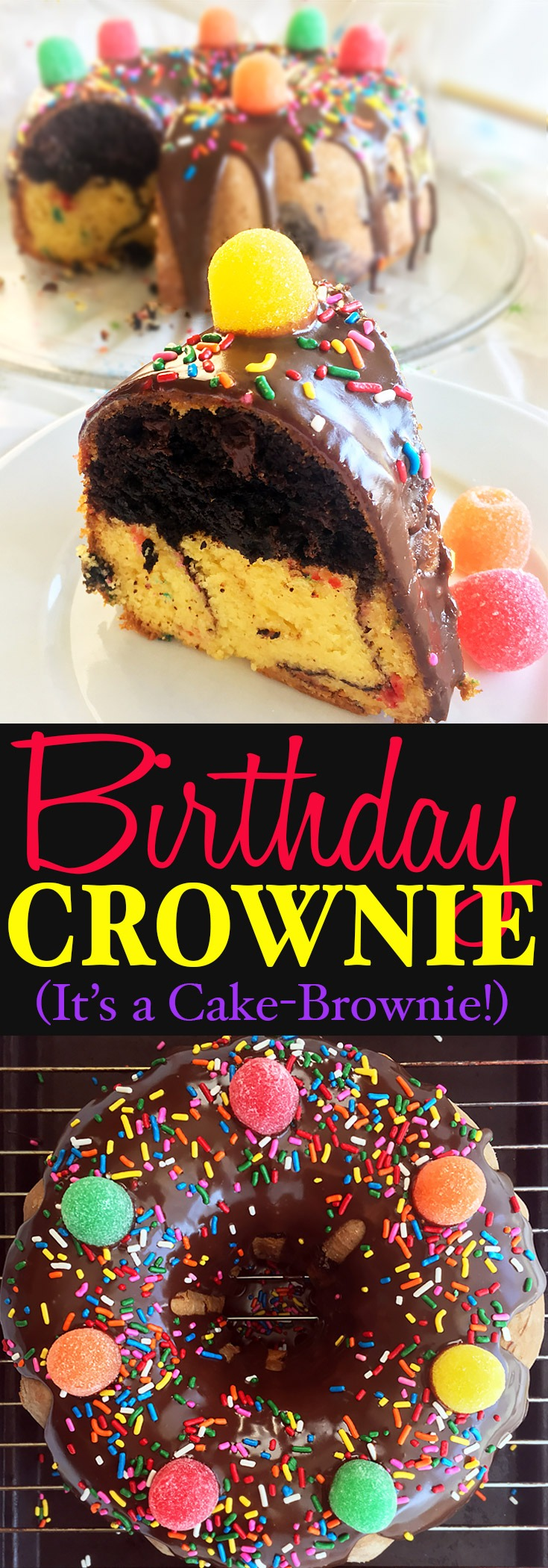 Birthday Crownie Cake-Brownie bundt cake with chocolate glaze