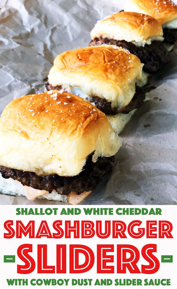 Shallot and White Cheddar Smashburger Sliders