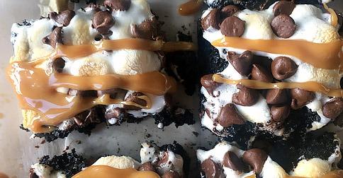 Caramel Macchiato Brownies with Dark Chocolate Espresso