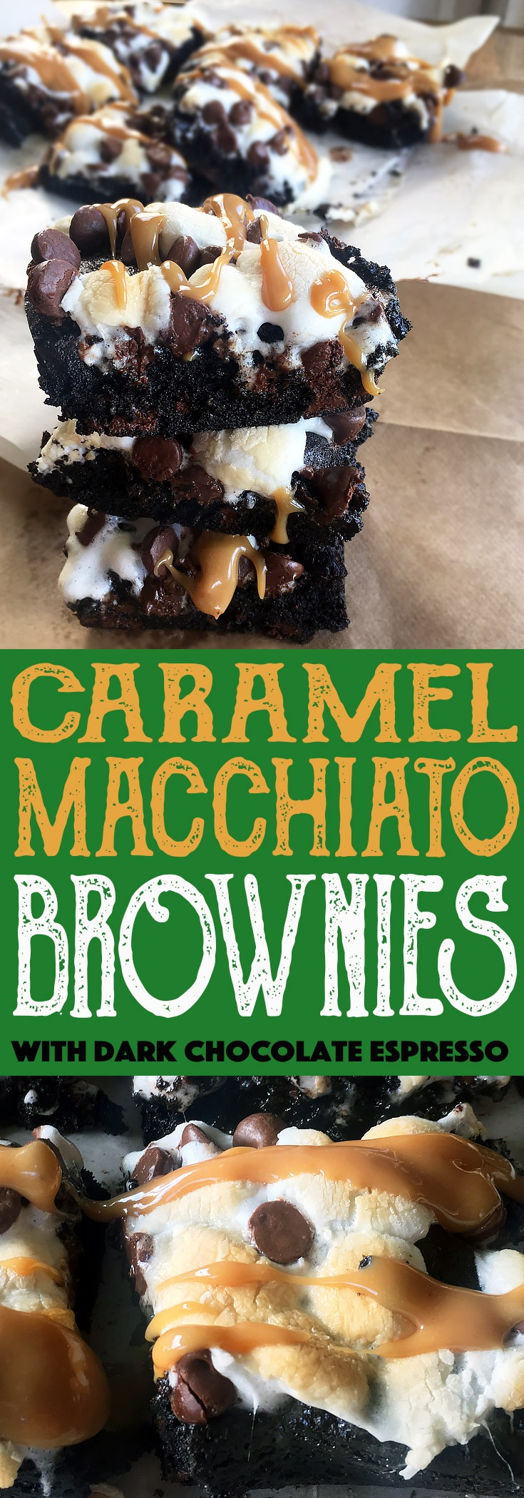 Caramel Macchiato Brownies with Dark Chocolate Espresso and caramel sauce.
