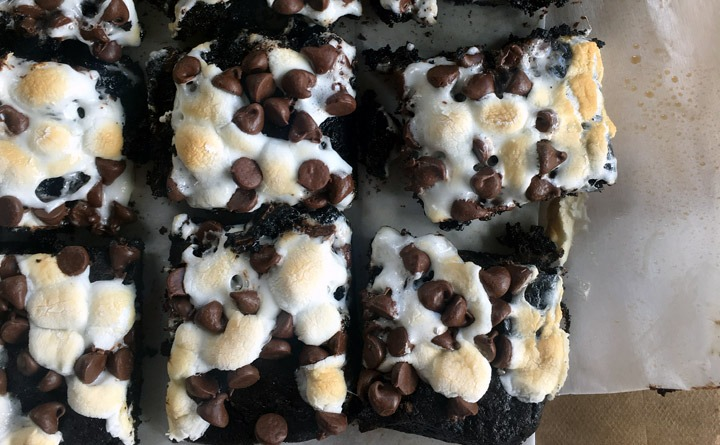 Marshmallows and semisweet chocolate chips melted over espresso brownies.