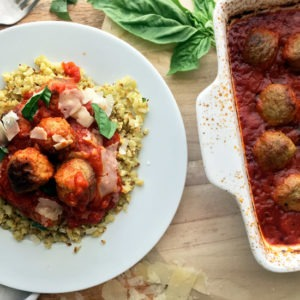 Easy Roasted Cauliflower Rice with Meatballs in Marinara – 2 Minute Prep!