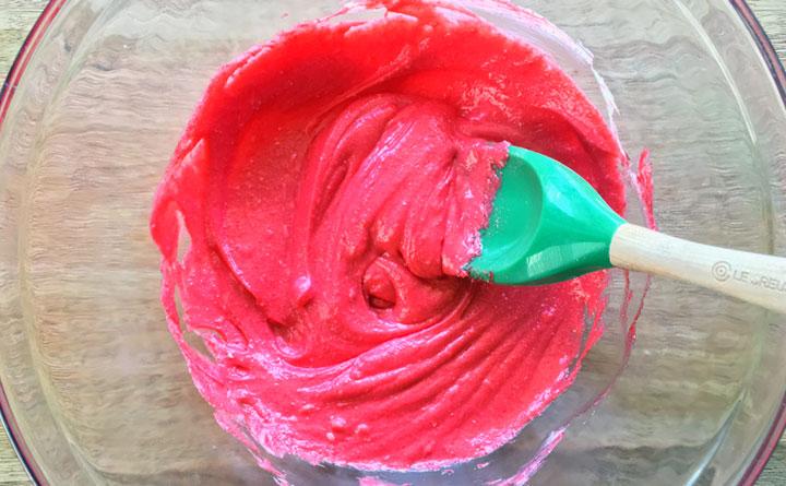 Mix the cream cheese and cherry jello powder.