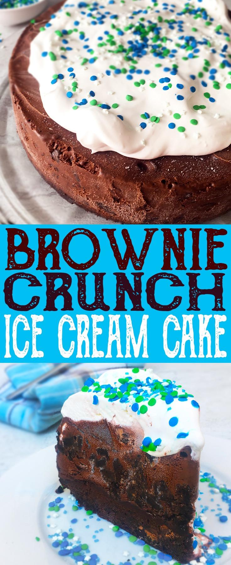 Brownie Crunch Ice Cream Cake with dark chocolate ice cream and OREO crunch!