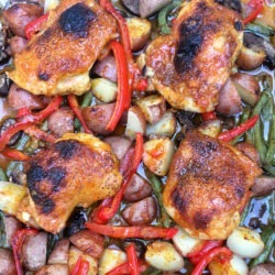 Sweet Fire Baked Chicken and Vegetables.