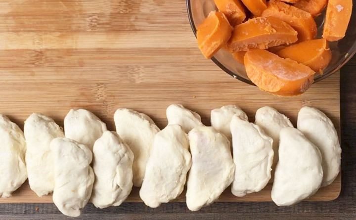 16 sweet potato slices wrapped in a biscuit.