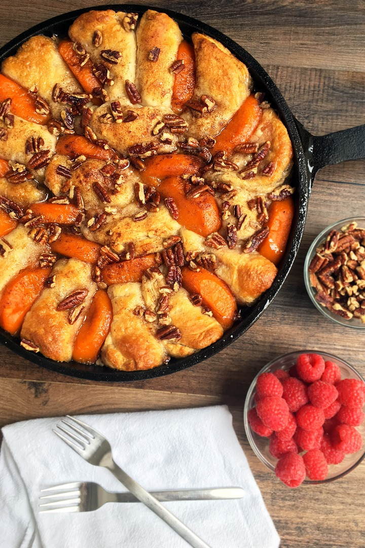 Sticky biscuit skillet bake made with frozen yam patties.