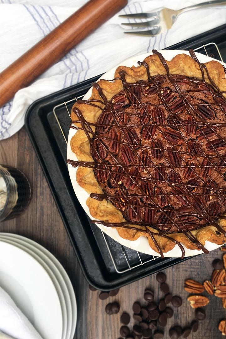 Dark chocolate pecan pie with bourbon