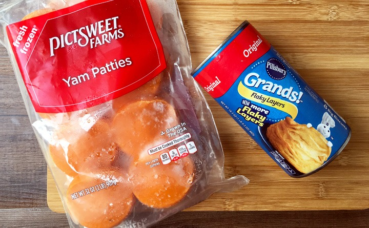 Frozen yam patties in a bag with Grands Flaky Layers Biscuits in a can.
