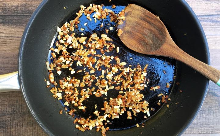 Sautéed shallots and garlic.