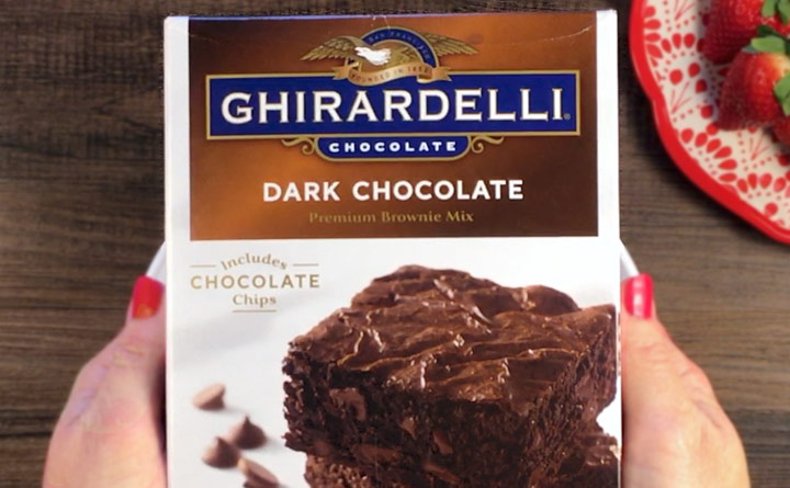 Ghirardelli Dark Chocolate Brownies are baked with strawberry cake.